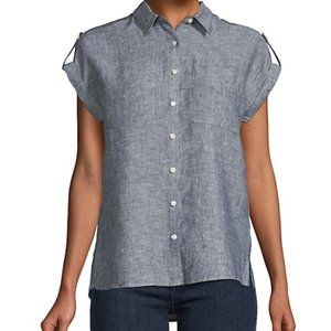 Lord & Taylor Grey linen buttoned shirt size large